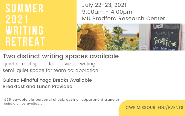 summer writing retreat information graphic